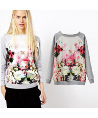 Lesara Damen-Pullover mit Blumen - L