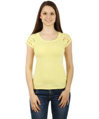 TopMode Zajímavé tričko s krajkovými rukávy žlutá