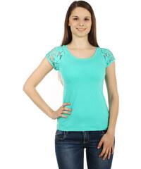 TopMode Zajímavé tričko s krajkovými rukávy zelená