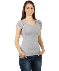TopMode Zajímavé tričko s krajkovými rukávy šedá