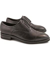 Leonardo Shoes Chaussures à lacets artisanales en cuir de veau noir vintage