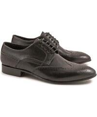 Leonardo Shoes Chaussures à lacets pour hommes artisanales en cuir noir