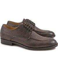 Leonardo Shoes Chaussures derby en cuir chocolat pour hommes