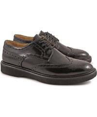 Leonardo Shoes chaussures richelieu pour homme en cuir noir