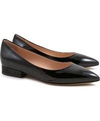 Leonardo Shoes Moccasin femmes en cuir verni noir avec talon de 3 cm