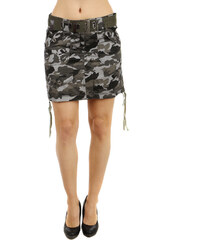 TopMode Stylová army sukně s páskem šedá