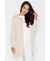 Dámské sako, dlouhé sako FIGL v neoprenovém vzhledu (vel.42/XL skladem) S béžová