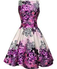Lady Vintage RETRO DÁMSKÉ ŠATY Purple Rose Floral Collage