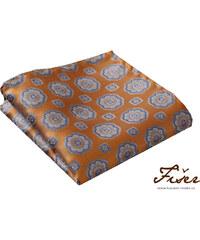 Fišer Hedvábný kapesníček oranžový velký vzor