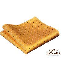 Fišer Hedvábný kapesníček žlutý s tečkou