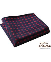 Fišer Hedvábný kapesníček tmavě modrý s červeným vzorem