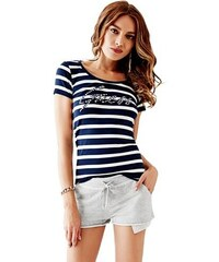 Guess Tričko Short-Sleeve Striped Embellished-Logo Tee