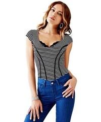 Guess Triko Claudia Cap-Sleeve Striped Top