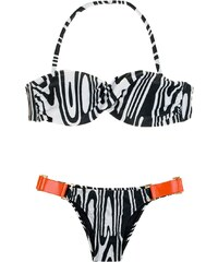 Cyann Bikini Bandeau Zébré Noir Et Blanc, Empiècements Orange - Monica