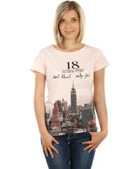 TopMode Moderní tričko s krásným potiskem a s kamínky růžová