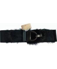 VesTem Dámský černý pásek s pravým kožíškem
