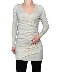 VesTem Béžový pletené šaty s kaminky s hlubokým výstřihem