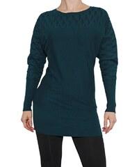VesTem Dlouhý tmavě zelený teplý svetr s netopýřími rukávy k legínám