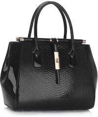 LS fashion LS dámská lakovaná kabelka krokodýl 320A černá