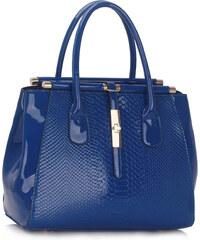 LS fashion LS dámská lakovaná kabelka krokodýl 320A modrá