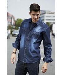 CARISMA košile pánská 8128 dlouhý rukáv riflová jeans