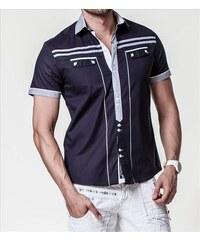 CARISMA košile pánská 9030 krátký rukáv slim fit tm. modrá