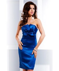 SAF šaty 4-3 satén midi modré