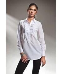 866d3fb17f1 Bílé dámské košile s volány
