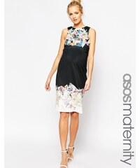 ASOS Maternity - Asymmetrisches, figurbetontes Neopren-Kleid mit gespleißtem Druck - Mehrfarbig