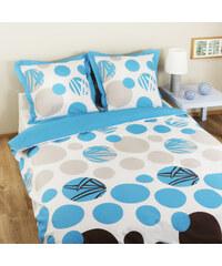 Home Linen Parure housse de couette FLANELLE 100% coton - Lhassa turquoise 240x220 cm + 2 taies d'oreiller 65x65 cm