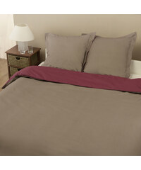 Home Linen Parure housse de couette en 100% coton - Bicolore Taupe / Prune 240x220 cm + 2 taies d'oreiller 65x65 cm