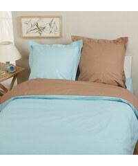 Home Linen Parure housse de couette en flanelle 100% coton - Bicolore Turquoise / Chocolat 200x200 cm + 2 taies d'oreiller 65x65 cm