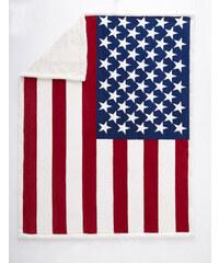 Home Linen Plaid imprimé drapeau américain - 150x200 cm - 100% polyester - 1 face microfibre + 1 face Sherpa