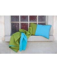 David Fussenegger Plaid 140 x 200 cm double face vert / turquoise + 1 sac coordonné inclus