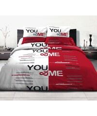 Home Linen Parure housse de couette FLANELLE 100% coton - Toi et Moi 140 x 200 cm + 1 taie d'oreiller 65 x 65 cm