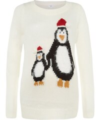 ELISE RYAN Krémový svetr s tučňákama