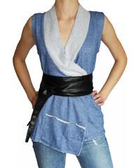 VesTem Elegantní dámská modrá vesta z bavlny