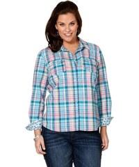 Bavlněná dámská kostkovaná košile také nadměrná velikosti JEANS FOR ME (vel.48/50 skladem) 40/42 tyrkysová