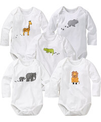 bpc bonprix collection Lot de 5 bodies à manches longues blanc enfant - bonprix