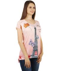 TopMode Výrazné tričko s potiskem, s kamínky a s krajkou růžová