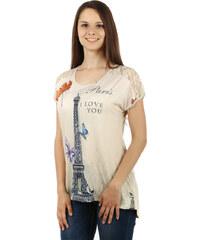TopMode Výrazné tričko s potiskem, s kamínky a s krajkou béžová