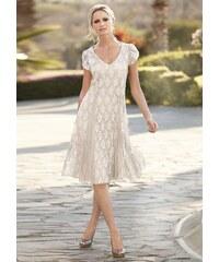Damen Kleid mit gecrashten Georgette-Einsätzen TOGETHER braun 36,38,40,42,44,46,48,50,52