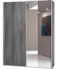 CS Schmal Garderobenschrank Soft Smart 150 cm breit in 2 Tiefen silberfarben