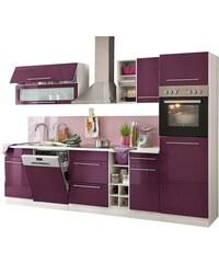 HELD MÖBEL Küchenzeile Avignon mit E-Geräten Breite 300 cm lila