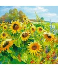 HOME AFFAIRE Bild Kunstdruck Sommerwiese-Sonnenblumen 69/69 cm gelb