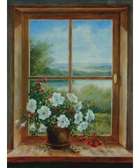 HOME AFFAIRE Bild Kunstdruck A. Heins: Blumen am Fenster 57/79 cm braun