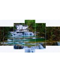Leinwandbilder Wasserfall in Thailand (5-tlg.) HOME AFFAIRE grün