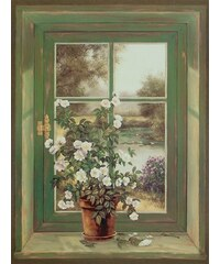 Bild Kunstdruck A. Heins: Wildrosen am Fenster 57/79 cm HOME AFFAIRE grün