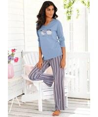 Pyjama mit feinen Streifen & Schäfchenprint Vivance Dreams blau 32/34,36/38,40/42
