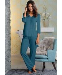 Lascana Edler Pyjama mit Raffung & Spitzenkante grün 34,36,38,40,42,44